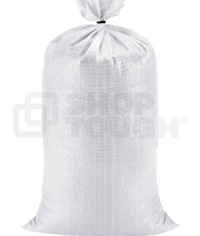 A single white sandbag with attached tie closure.